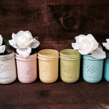 Handmade painted mason jars, chalk painted mason jar, pastel rainbow