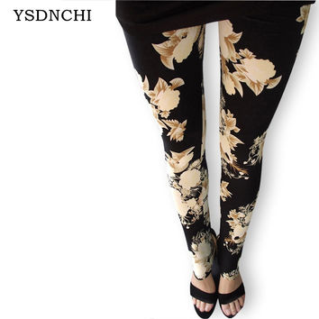 Women's Leggings Fashion Sexy Women Rose Flower Printed leggins Slim Cotton Colorful Pants In stock A variety of styles trousers