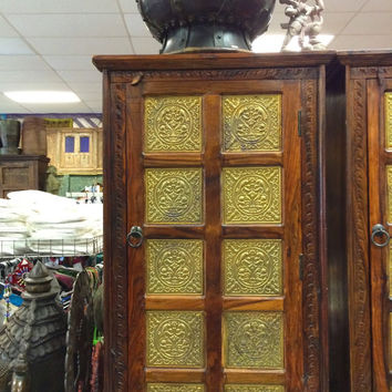 Antique Cabinet Brass Minakari Work Storage Armoire Reclaimed Wood Jodhpur India Furniture