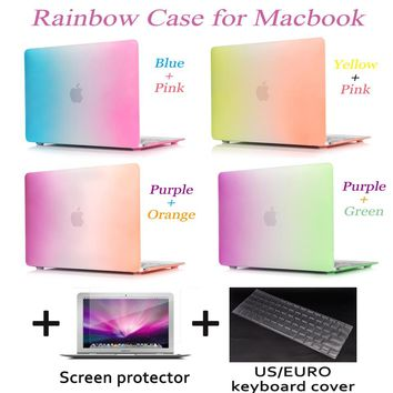 Laptop cover Matte Rainbow Hard Protector Case For MacBook Air 11 12 Pro 13 15 inch with Retina+Keyboard Cover+screen protector
