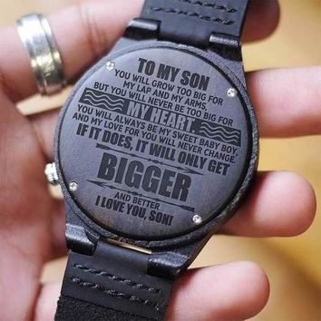 Mom To Son To My Son Grow Too Big For My Lap and Arms Never Too Big For My Heart My Sweet Baby Boy Never Change Engraved Wooden Watch Gift