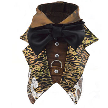 Copper / Silver Dog Harness Tuxedo Jacket