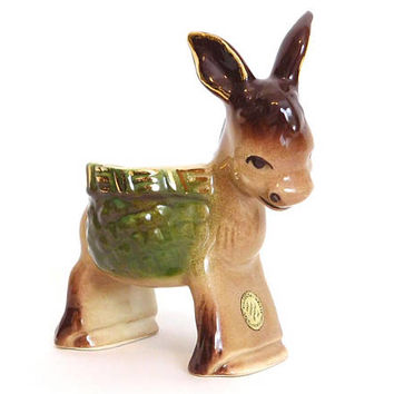 Mid Century Donkey Planter - Small Walker Pottery Foothills Studios Ceramic Burro Plant Pot- Brown Green Gold - Vintage Kitsch Decor
