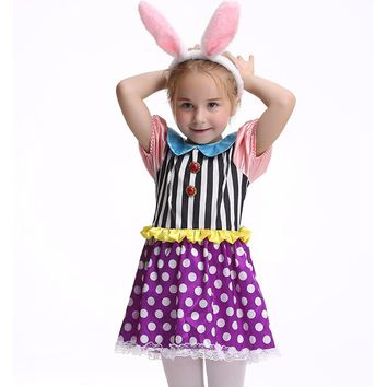 Girls Rabbit Halloween Costume Alice In Wonderland Dress Kids Animal Cosplay Party Carnaval With Rabbit Ear Clothes Fancy Dress