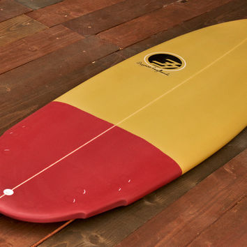 "Fish & Specialty 5'6"" Surfboard Bean Red and Gold Fiberglass"