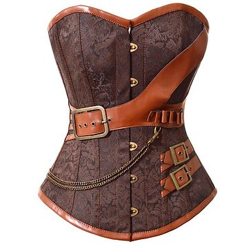 New Latex Gothic Clothing Sexy Brown Steel Bone Corset Steampunk Waist Corsets And BustiersTop Women Corpetes