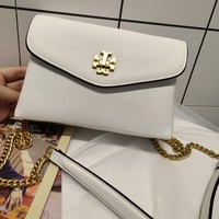 Kuyou Gb99822 Tory Burch Chain Flap Cover Bag Crossbody Bag In White Grained Leather 20*13.5*7.5cm
