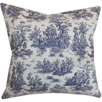 Lalibella Toile Cotton Pillow, Blue, Decorative Pillows