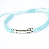 Arrow Bracelet Friendship Sea Pacific Green Cotton Cord