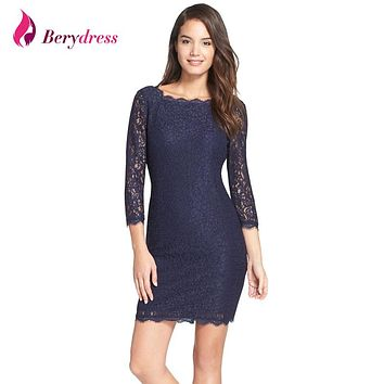 Berydress New Fashion Women Dress Sexy Bodycon Sheath 3/4 Sleeve Full Zip Back Hot Selling Short Lace Dresses 2017 S-XXXL