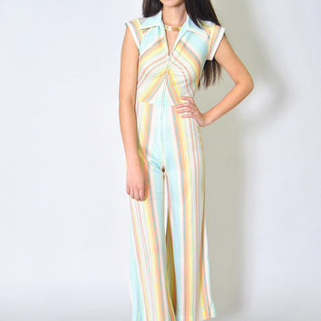 VTG 70s Striped Jumpsuit Fitted Rainbow Striped Romper Playsuit XXS XS S Cropped Boho Spring Festival Coachella