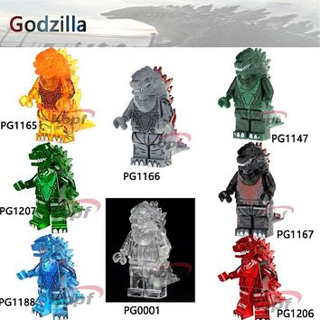 Single Sale Lava Transparent Godzilla Super Heroes American Science Fiction Monster Movie Building Blocks Toys for children Gift