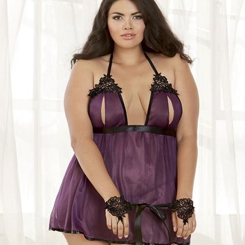 Plus Size Strappy Embroidered Halter Babydoll