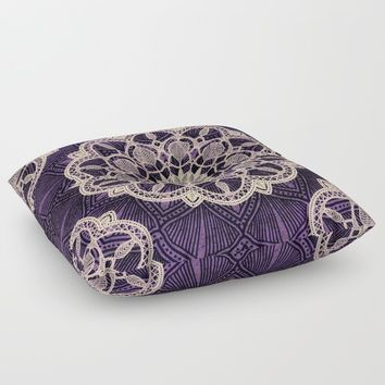 AMETHYST SPIRIT MANDALA Floor Pillow by inspiredimages