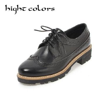 New Womens Round Toe Preppy Retro Cool Brogue Shoes Wing Tip Lace Up Vintage Oxfords Shoes For Women Casual Footwear Size 34~43