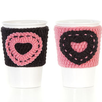 Crochet cup cozy, mug cozy, cup cozy, gift for her, coffee cup sleeve, anthracite, salmon, Set of 2