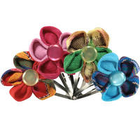 Cotton Flower Hair Clips Set of 4 from Guatemala