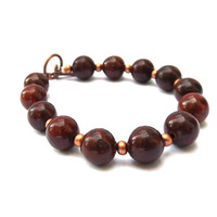 Red Jasper Bracelet with Copper Beads for a Small-Medium Sized Wrist