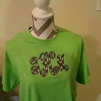 Large Center Vine Monogram Applique T-Shirt Tee -  Fabric Applique