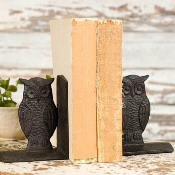 Cast Iron Wise Owl Bookends