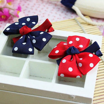 Retro  Kids Dot Hair Clip Hairpins Barrettes Headwear Bow for Baby girls 3C