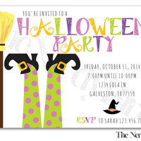 Witch and Broom Stick Halloween Party Design Printable invitation