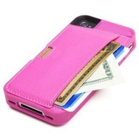 CM4 Q4-PINK Q Card Case Wallet for Apple iPhone 4/4S - 1 Pack - Retail Packaging - Pink Sapphire