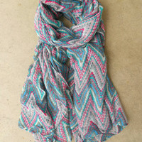 Chevron Ikat Scarf in Gray [3864] - $16.00 : Vintage Inspired Clothing & Affordable Summer Frocks, deloom   Modern. Vintage. Crafted.
