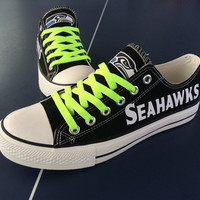2016 Seattle Seahawks Sneakers Fashionable Canvas Tennis Shoes FREE SHIPPING