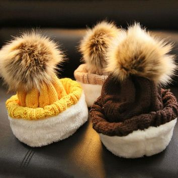 WENDYWU Baby Winter Hats Boy Girl Warm Beanies Rabbit Fur Bow Caps Kids Knitted Caps Crochet Photo Props