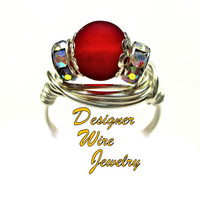 DWJ0421 Stunning Ocean Inspired Red Sea Glass Silver Wire Wrap Ring All Sizes