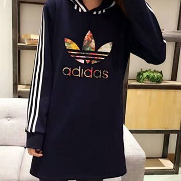 Adidas Original Winter Fashion Print Hooded Pullover Tops Long-Sweater