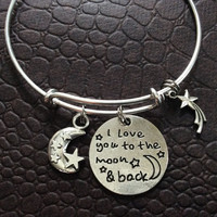 I Love You to the Moon and Back with Shooting Star Stamped Word Quote on Expandable Adjustable Wire Bangle Bracelet Gift