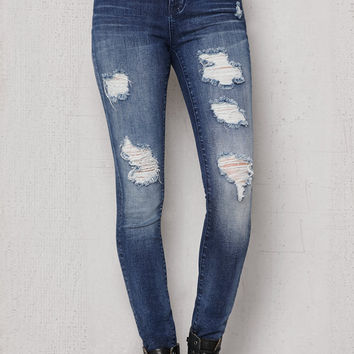 PacSun Pirate Blue Ripped Low Rise Skinny Jeans at PacSun.com