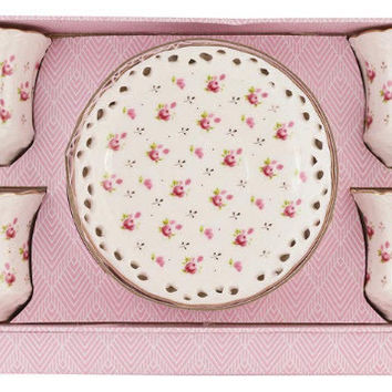 Set of 4 Rosebud Porcelain Tea Cups and Saucers in Gift Box