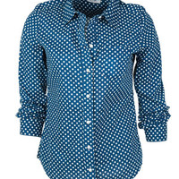 Button-down Polka Dot Shirt in Navy-Multi - Navy Multi