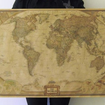 "Large Vintage Retro Paper World Map Poster 28"" x 18"" Children Gifts Wall Chart Decoration = 1946254084"