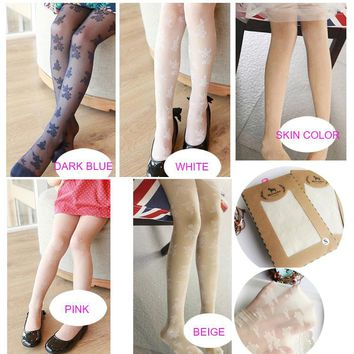 New summer children girls Crystal silk ultra thin tights rose flower kids pantyhose mosquito silk stockings 5 colors 3-9 years
