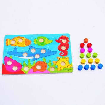 Montessori Kids Early learning educational Toys Cartoon Toys Wooden Tangram Jigsaw Board Wood Puzzle for Children W104