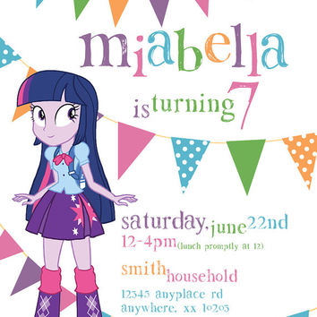 My Little Pony Equestria Girls Twilight Sparkle Theme - Birthday Invitation- DIY Printable Invitation - By Cici and Bobo