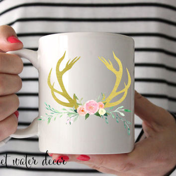 Coffee Mugs Gold Foil Deer Antler and Flowers Coffee Mug - Deer Antler Mug - Ceramic Mug Rustic Chic Coffee Mug