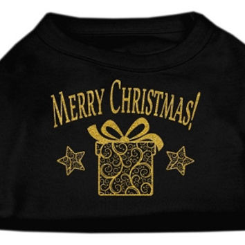Golden Christmas Present Dog Shirt Black Sm (10)