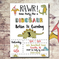 Dinosaur Birthday Invitation - Dinosaur party invitation - Dinosaur invitation - T Rex Invitation - PRINTABLE - Boys Birthday Invitation