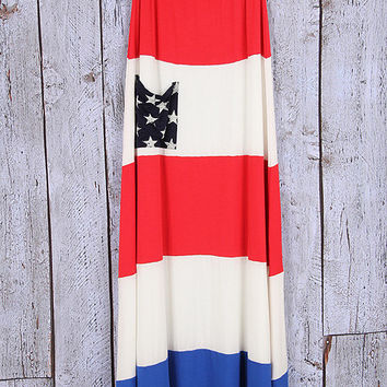 Patriotic Maxi dress or skirt, 2 in 1, 4th of july, memorial day, usa, patriotic, fun, fashion, trendy, eyecandie, red, white, blue