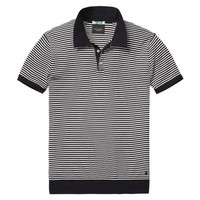 Navy and White Striped Knit Polo