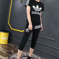 """Adidas"" Fashion Casual Clover Letter Print Stripe Short Sleeve Set Two-Piece Sportswear"