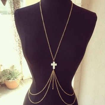 Gold Body Chain Body Piece Belly Chain Jewelry Harness Necklace