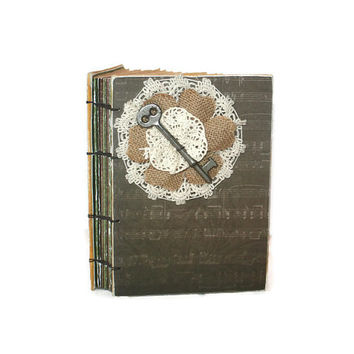 Guest Book with Lace, Burlap and Beautiful Vintage Skeleton Key, journal, wedding