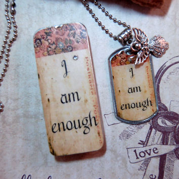 I Am Enough Affirmation Dog Tag Necklace with Charm in Matching Gift Tin Positive Saying Teenager Jewelry Moms Best Friend Necklace