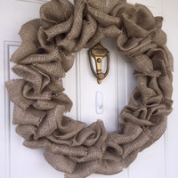 Burlap wreath, ready to use, craft supply, plain burlap wreath, wreath made to order, burlap finished, ready to decorate